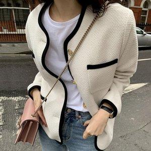 Kadın Ceketler Sannian Kadınlar Ceket Sonbahar Yuvarlak Boyun Trim Kontrast Renk Tek Göğüslü Gevşek Çok Cep Tasarım Kısa Ceket Giysileri
