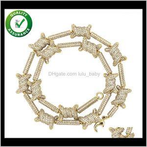 Mens 14K Gold Chains Iced Out Luxury Hip Hop Men Diamond Necklace Cuban Link Tennis Chain Rapper Fashion Bling Statement 7Hj29 Bnclr