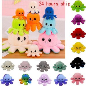 24 Hours DHL Ship!Reversible Plush Toys Soft Flip Two-Sided Octops Plush Toy Stuffed Doll Soft Simulation Octopus Cute Animal Doll Gifts