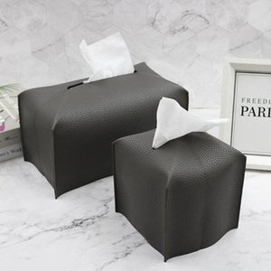 Tissue Boxes & Napkins PU Leather Box Napkin Holder Paper Case Bathroom Cover Car Storage Modern Toilet Decor