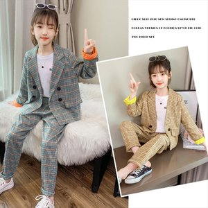 Kids Suits Spring Teen Girls Clothing Set Plaid Long Sleeve Jackets Pants Suit Shool Clothes 8 10 12