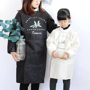 Aprons Waterproof Cartoon Parent-child Apron Home Cooking Baking Long-sleeved