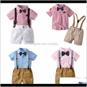 Designer Clothes Boys Bow Shirts Suspender Pants 2Pcs Sets Short Sleeve Children Outfits Boutique Kids Clothing 7 Designs Dw4162 1Jueh 6V0Sc