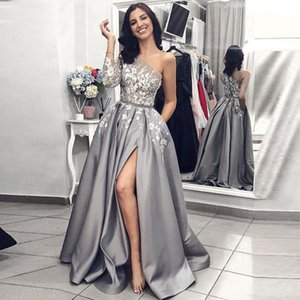 Grey Satin Evening Gown 2021 A-Line Sexy Split White Lace Prom Dresses with Pockets One Shoulder Long Sleeves Party Formal Dress