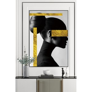 The latest design Nordic modern art painting abstract female portrait wall crystal porcelain home decoration