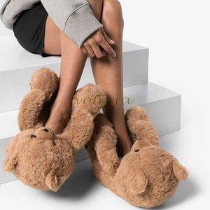 Women Teddy Bear Plush Slippers Cartoon Cute Bear House Slipper Winter Warm Furry Faux Fur Slides Woman Furry Flip Flop Shoes Y0731