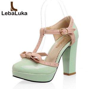 Tuyoki Sexy Women Platform Bownot High Heel Sandals Bowtie T Correa Tacones gruesos Zapatos Calzado de verano Tamaño 34-43