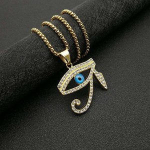 Egypt Eye Of Horus Pendant Necklace Gold Color Stainless Steel Iced Out Bling Chain Ancient Egyptian Jewelry Drop Necklaces