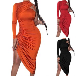 Spring Women One Shoulder Long Sleeve Bodycon Dress Sexy Hollow Out Asymmetrical Drawstring Rouched Dress Midi Woman Red Dresses 210414
