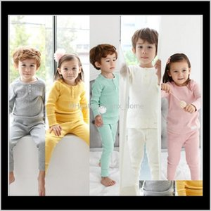 Baby Clothing Baby Maternity Drop Delivery Children 2021 Spring Autumn And Winter Cotton Kids Pajamas Belly Care Set Solid Color Home Underwe