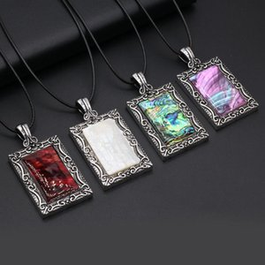Chains Natural Mother Of Pearl Shell Necklace Rectangle Alloy Pendant Charms For Elegant Women Love Romantic Gift Chain 40 +5 CM