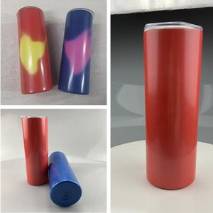 2021 20oz Temperature-Sensing STRAIGHT Sublimation Cups Color-Changing Mugs Double Insulated Tumblers Stainless Steel Water Bottles A12