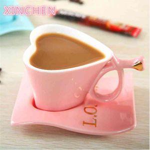 Xinchen New Direct Sales Creative Keramik Europäische Herz-förmige Tee-Paar-Becher-Kaffeetasse 210409