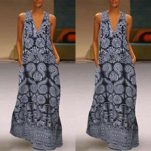 Ladies Evening Party Dresses Women Plus Size Print Daily Casual Sleeveless Vintage Bohemian V Neck Maxi Dress Summer Long