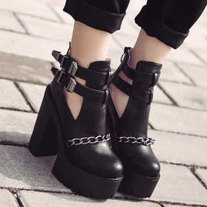 Boots Spring and Autumn Metal Chain Hollow Women's Belt Buckle Thick Heel High Heels Boots Punk 226-3