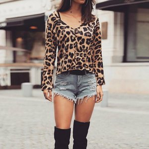 Leopard Print Women Shirt Tops Long Sleeve Ladies V Neck Sexy Blouse Full Summer Spring Pullovers Fashion Top Women's Blouses & Shirts