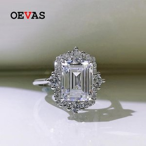 Cluster Rings OEVAS 100% 925 Sterling Silver 8*10mm High Carbon Diamond For Women Sparkling Wedding Party Fine Jewerly Gift Wholesale