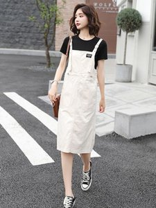 Skirts Summer Blue Korean Style Denim Split Jumpsuit Skirt Casual Adjustable Lace-Up Strap Womens Clothing Drop