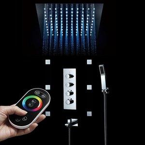 욕실 3 기능 64 컬러 LED 샤워 세트 시스템 임베디드 천장 비 300 * 300mm 샤워 헤드 온도 조절 밸브 믹서 수도꼭지 세트