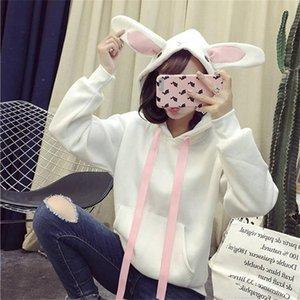 Fashion Women Ears Top Hoodie Long Sleeve Blouse Loose Sweatshirt Harajuku Cute Hedging Thick Round Neck Women's Hoodies & Sweatshirts