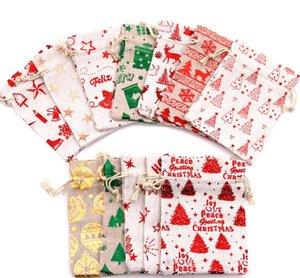 삼 베 가방 황마 drawstrings 사탕 주머니 선물 랩 금속 인쇄 크리스마스 치료 가방 다른 디자인 휴일 파티 장식 다채로운 2 크기