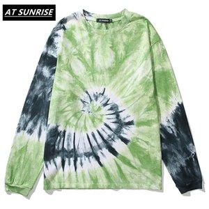 Atsunrise 2021 Men Hip Hop Tie Dye T Shirt Streetwear Harajuku Tshirt Slosed Hiphop T-shirt Oversize Cotton Tops Tees Manica lunga