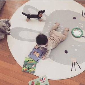 Play Mat Rabbit Cute Kids Newborn Baby Infant Crawling Blanket Cotton Round Floor Carpet Rugs Mat Photography Props for Children 210401