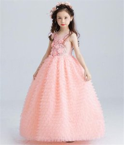 Luxury Pink Tulle Flower Girl Dress Kids Wedding Ankle Length Appliques Bead Party Prom First Communion Dresses Family Matching Outfits