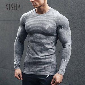 2020 Long Sleeve Fitness Sport T Shirt Men GYM Shirt Training Sports Tops Quick Dry Running Shirt Rashguard Workout T-shirt Men