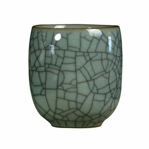 Kiln Marked Cup Longquan Celadon Porcelain Tea Geyao Crackle Glaze Ceramic Kungfu Cups For & Saucers