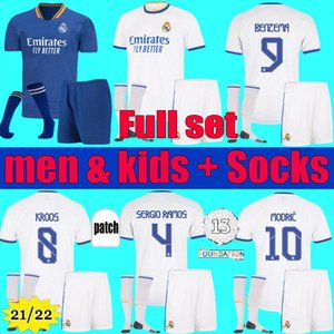 Homens Crianças 21 22 22 Real Madrid Jersey Benzema 2021 2022 Hazard Asensio Sergio Ramos Kits Modric Retro 02 03 Zidane Camisas de futebol conjunto uniformes
