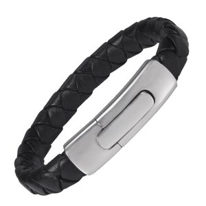 Wollet Jewelry Bio Magnetic Stainless Steel Silicone Leather Bracelet Bangle For Men Germanium Magnet Black Rubbers Wristbands Link, Chain