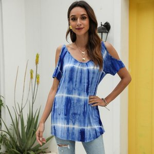 Feitong Shirt Blouse Womens Summer Sexy Cold Off Shoulder Tops V Neck Tie-dye Casual Top Ladies Blouses Women's & Shirts