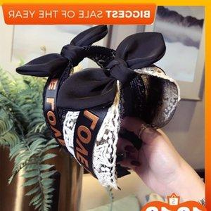 Coreano Acessórios Acessórios Lace Malha Letra Love Hollow Knitting Rabbit Orelha de Borda Borda de Borda Headband Feminino