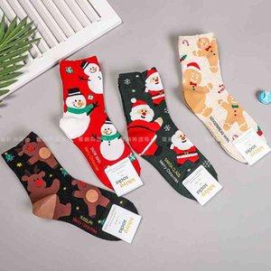 Kikiyasocks Korean women's Christmas 2020 winter new year Snowman Santa Claus middle tube stockings