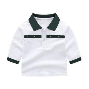 Fashion Designer kids Baby Boys Girls t-shirts shirts Long Sleeve Turn-down Collar Plaid Blouse tops Childern Cotton white navy tshirt Pullover Girl Sweatshirt