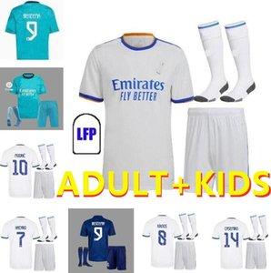 성인 어린이 키트 2021 2022 레알 마드리드 유니폼 20 22 22 축구 유니폼 위험 Sergio Ramos Benzema Vinicius Camiseta 축구 셔츠 유니폼