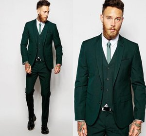 hunter green Formal Wedding Men Suits for Groomsmen Wear Three Piece Trim Fit Custom Made Groom Tuxedos Evening Party Suit Jacket Pants Vest