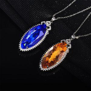 Pendant Necklace Live in Kwai Tai, the Luxurious Imitation Natural Tanzania Blue Necklace. Tiktok
