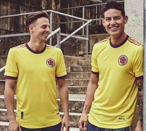 2021 Columbia Jersey National Soccer Jersey Copa America Columbia Chemise de football Rodriguez Camiseta Maillot de pied Cuadrado Hommes Camisetas de futbol