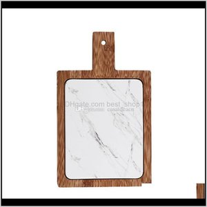Kitchen Tools Kitchen, Dining Bar Home & Garden Drop Delivery 2021 White Marble Texture Cheese Board With Bamboo Tray Rectangular Porcelain S