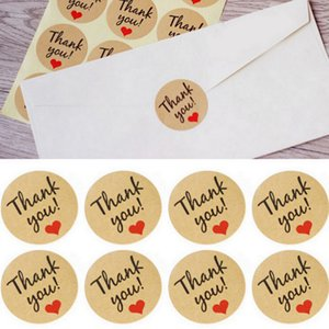 3.5cm Kraft Paper Thank You Sticker Round Wishing Bottle Card Tags Crafts Wedding Decoration DIY Party Supplies Adhesive Tag BH4796 TQQ
