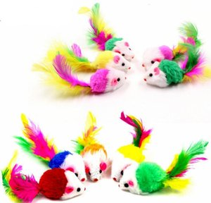 Pet Supplies Home & Garden Drop Delivery 2021 Plush Cat Teaser Simulation Colorful Feather Tail False Mouse Bite Resistant Funny Cats Toy Kit