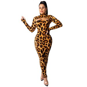Styles Two Pieces Sexy Women Party with Long Sleeves Short Top Leopard Camouflage Printed Sheath Fashion Nightclub es