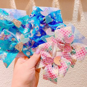 Girls Hair Accessories Baby Hairpins Mermaid Kids Barrettes Bows BB Clips Accessory Childrens Sequin Bowknot Ribbon B4682