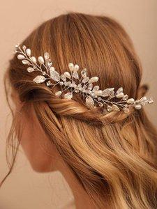 Headpieces Fashion Elegant Women Wedding Hair Comb Crystal Pearls Headbands Bridal Headdresses Leaves Accessories Handmade Hairclips
