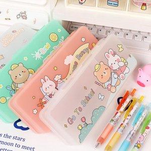 Pencil Cases Kawaii Box Double-layer Plastic Stationery Storage Waterproof Dustproof School Supplies Pen Case