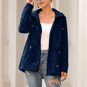 Womens Plus Size Autumn Waterproof Hooded Jacket Long Sleeve Drawstring Zipper Rain Coat Casual Outdoor Hiking Windbreaker S-3XL
