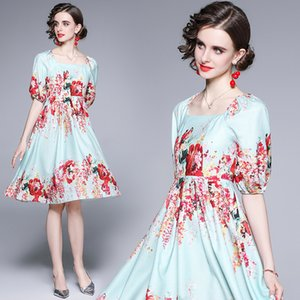Puff Sleeve Girl Floral Dress Short Sleeve Summer Printed Dress High-end Fashion Sweet Lady Dresses Party Dresses