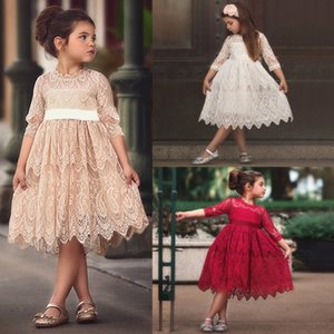Elegant Girls Flower Lace Embroidery Dress Children's Dresses for Girl Princess Spring Autumn Party Ball Gown Children Clothing X0401